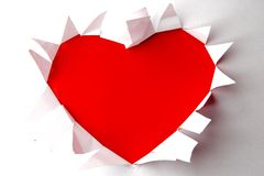 Red heart in the white paper Royalty Free Stock Image
