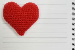 Red heart on white paper with line. Red heart on a white paper with line Stock Photos