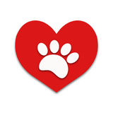 Red heart with white paw print animal Royalty Free Stock Photography