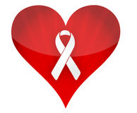 Red heart with white ribbon illustration design. Over white Royalty Free Stock Images