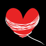 Red heart with white rope on black background Royalty Free Stock Images