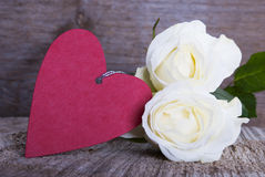 Red Heart with White Roses Stock Images