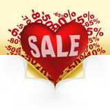 Red heart white text sale Royalty Free Stock Photos