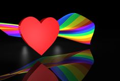 Red Heart Wiith Rainbow Flag Royalty Free Stock Photo
