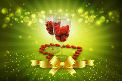 Red heart in wine glass Stock Photos