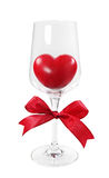 Red heart in wineglass Stock Photography