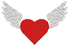 Red heart and wing Stock Photography