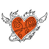 Red heart with wing Royalty Free Stock Image