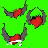 Red heart winged bat tattoo set flames Stock Photography