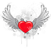 Red heart with wings royalty free illustration