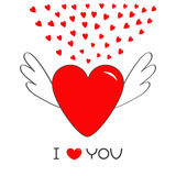 Red heart with wings. Cute cartoon contour sign symbol. Winged shining angel small hearts.  Royalty Free Stock Image