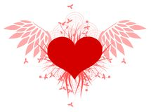 Red heart with wings and floral decoration isolated Stock Images