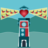 Red heart with wings flying into the light of the lighthouse. Stock Images