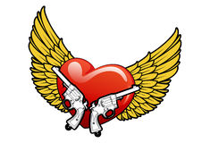 Red heart with wings and guns. Illustration vector illustration
