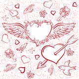 Red heart wings. Heart pierced by an arrow. Seamless background symbol Valentines Day Stock Photo