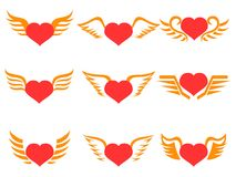 Red heart wings icons set. Isolated red heart wings icons set on white background Stock Photography