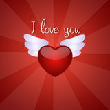 Red heart with wings Stock Images