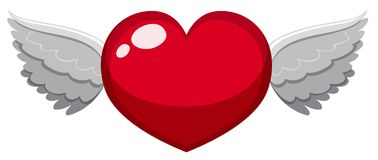 Red heart with wings. Illustration Stock Images