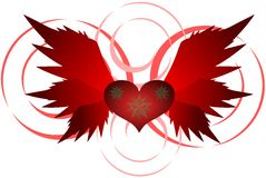 Red heart with wings isolated. Illustration that represents a red winged heart. This idea can be used in different ways, from logo to t shirt decoration Stock Photo