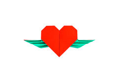 Red heart with wings Stock Image