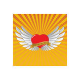 Red heart with wings. And sunshine Royalty Free Stock Photo