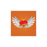 Red heart with wings. And sunshine Stock Photography