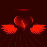 Red heart with wings Stock Photos