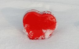 Red heart in winter Stock Image