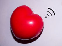 Red heart with wireless Stock Photos