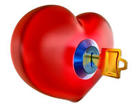 Red Heart With Golden Key Stock Photo