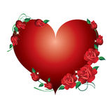 Red Heart With Roses. Royalty Free Stock Image