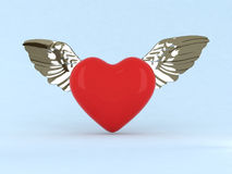 Red heart witn wings. 3d red heart witn metal wings Royalty Free Stock Images