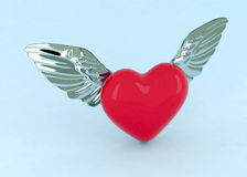 Red heart witn wings. 3d red heart witn metal wings Royalty Free Stock Photography