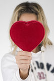 Red heart and woman Royalty Free Stock Images
