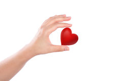 Red heart in woman hand Royalty Free Stock Images