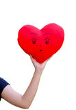 Red heart in woman hand royalty free stock photos