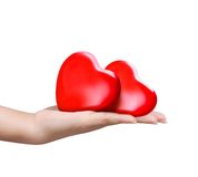 Red heart at the woman hand Stock Photography