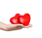 Red heart at the woman hand. Close up red heart in woman's hand Royalty Free Stock Photo