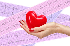 Red heart in woman hand over heart analysis, electrocardiogram Royalty Free Stock Photo