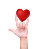 Red heart in woman hand Royalty Free Stock Photo