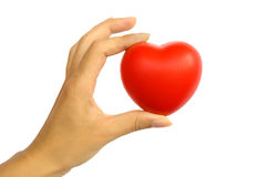 Red heart in woman's hand Royalty Free Stock Photos
