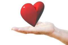Red heart on woman`s hand Royalty Free Stock Photo