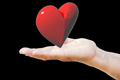 Red heart on woman`s hand Stock Images