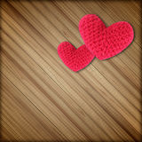 Red heart on wood background royalty free stock image