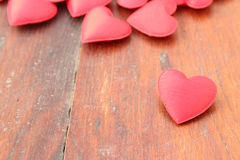 Red heart on wood background Royalty Free Stock Photos