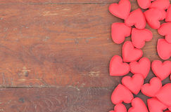 Red heart on wood background royalty free stock images
