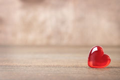Red heart on wood Stock Photo