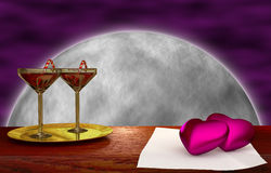 Red heart on wood - moon background Royalty Free Stock Photo