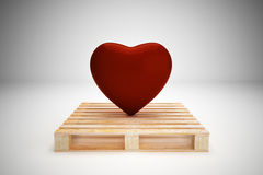 Red heart on wood pallet Stock Photo