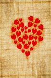 Red heart on wood plank Royalty Free Stock Image